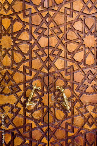 Islamic design on wooden door