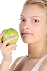 girl with green apple in hands