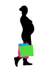 pregnant woman shopping vector
