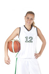 Smiling female basketball player