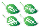 ecology product stickers, GMO free. poster