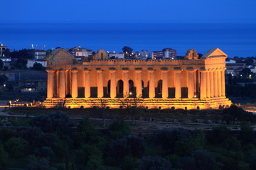 Valley of temples in Agrigento, Sicily by night
