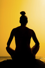 Yoga sitting pose silhouette