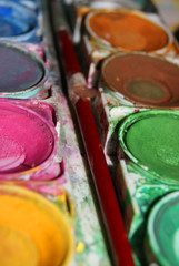 Wasserfarben in Gebrauch