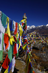 Yangrima summit Prayer flags and mountains