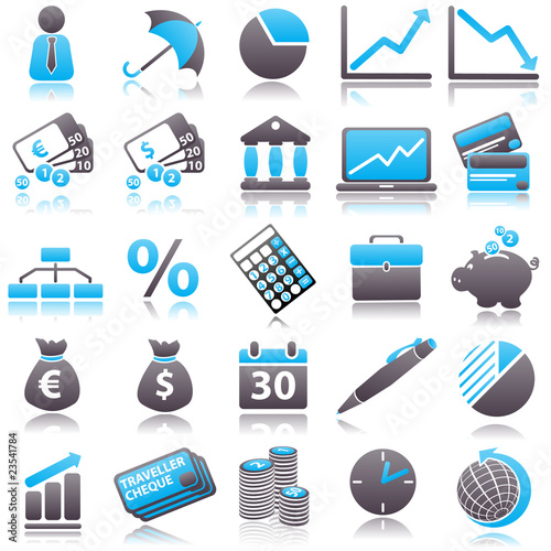 economic Blue Icons