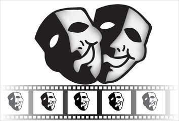theatrical mask of tragedy and comedy vector