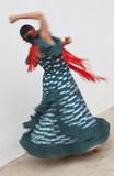 Naklejka Motion Blurred Shot of Spinning Woman Spanish Flamenco Dancer
