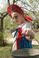 girl in national dress with a yoke