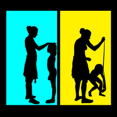 mother measuring girls height vector silhouette