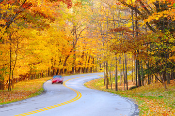 Autumn curve with car