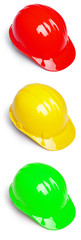 Red Yellow and Green Hardhat in semaphore colors