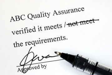Sign off the quality control document from a makeup institution