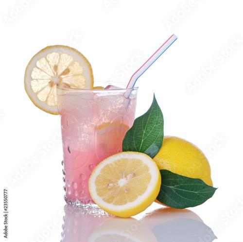Pink Lemonade In Glass With Lemons
