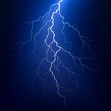 Lightning bolt at night. Vector.