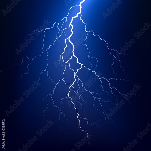 Lightning bolt at night. Vector.