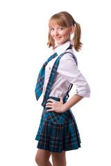 Senior high school student in uniform is posing