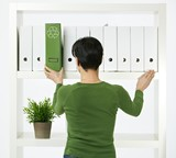 Woman working in green office