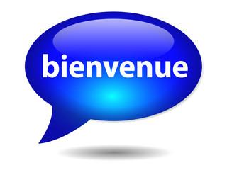 """Bouton Web Bulle """"BIENVENUE"""" (accueil page site sourire salut)"""