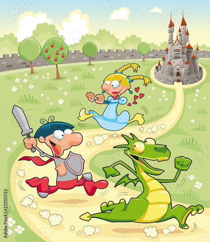Foto op Canvas Kasteel Dragon, Prince and Princess with background. Vector scene.