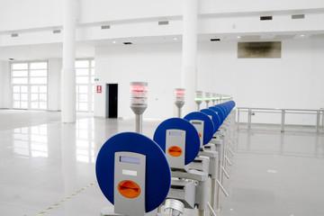 Modern turnstile entrance on a hall