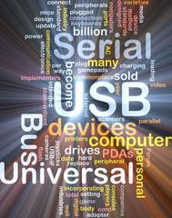 USB word cloud glowing