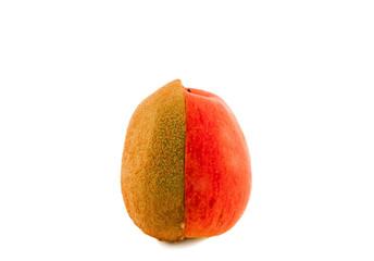 Halves of an apple and kiwi
