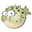 kugelfisch cartoon lustig fisch maskottchen