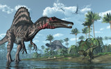 Prehistoric scene with Spinosaurus and Psittacosaurus Dinosaurs