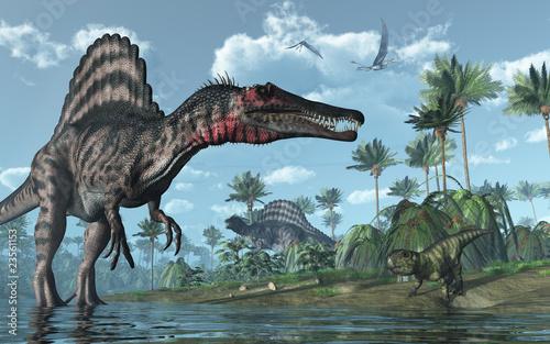 prehistoryczna-scena-z-spinozaurem-i-psittacozaurem