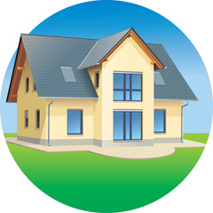 Modern prefabricated family house, vector illustration