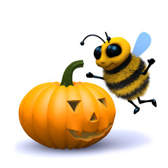 3d Bee finds scary pumpkin