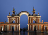 Nightlighting gate of State historical museum reserve Tsaritsyno