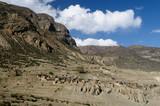 Annapurna cirkut trek on the Himalaya mountains.Manang village poster