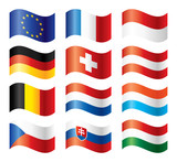 Fototapety Wavy flags set - Central Europe