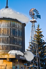 Snow Covered Water Tower