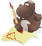 The small hippopotamus writes the letter to the beloved poster