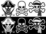 Jolly Roger, Pirate attributes, Skull and Crossbones silhouette poster