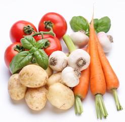 Group of fresh vegetables on white background