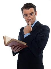 Man teacher holding old book