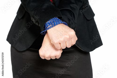 Businesswoman hands tied, job slave concept, isolated on white