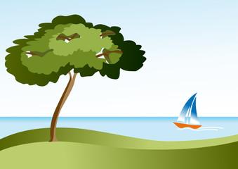 paisaje con mar y velero