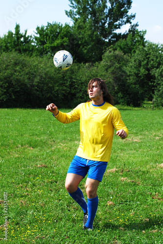 training with a soccer ball