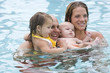 Young family together in swimming pool
