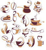 Fototapety Big SET of Vector coffee,tea elements 3