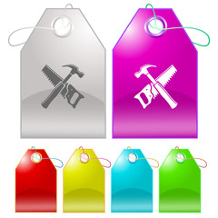 Hand saw and hammer. Vector tags.