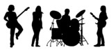 Fototapety singing band silhouette vector