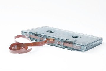 Broken Audio cassette tape.