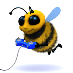 3d Bee plays a video game