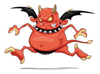 Funny demon. Cartoon and vector character. Isolated object